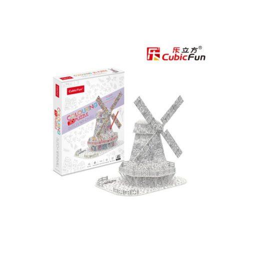 3D puzzle kiszínezhető holland szélmalom